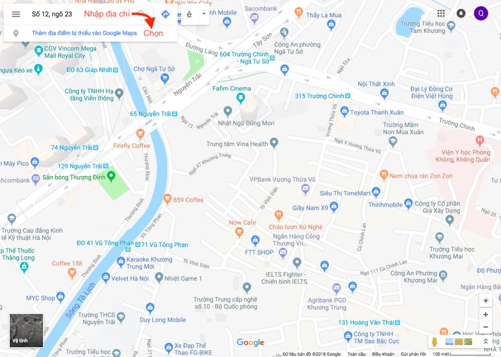 đưa địa chỉ lên google map