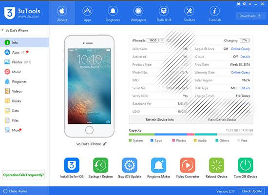 3utools công cụ quản lý iphone