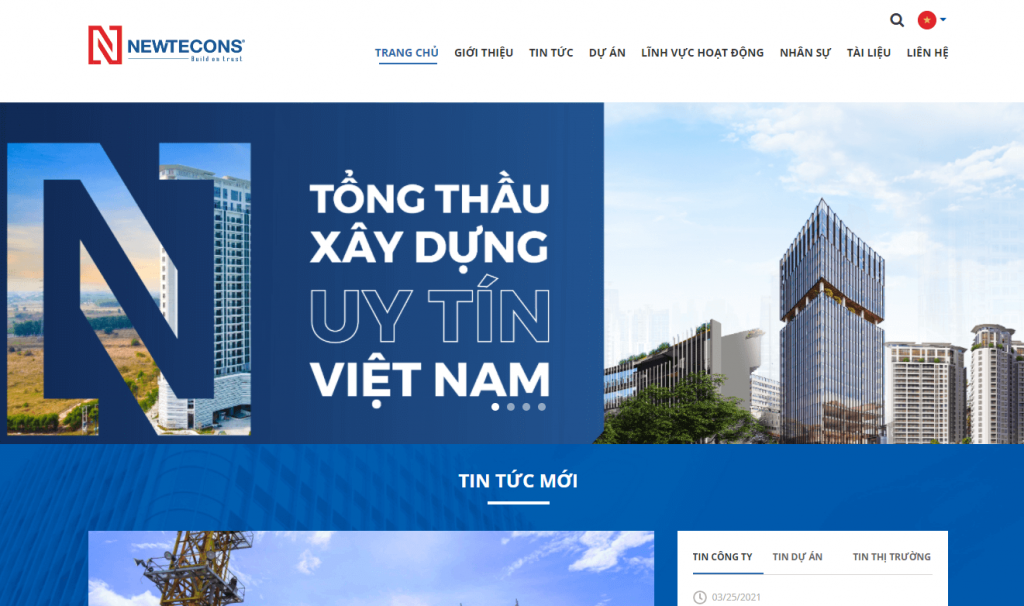 top website công ty xây dựng Newtecons