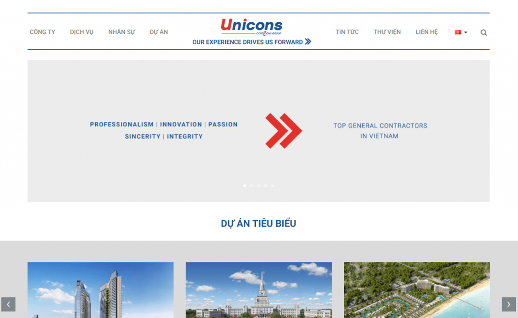 Top website công ty xây dựng Unicons