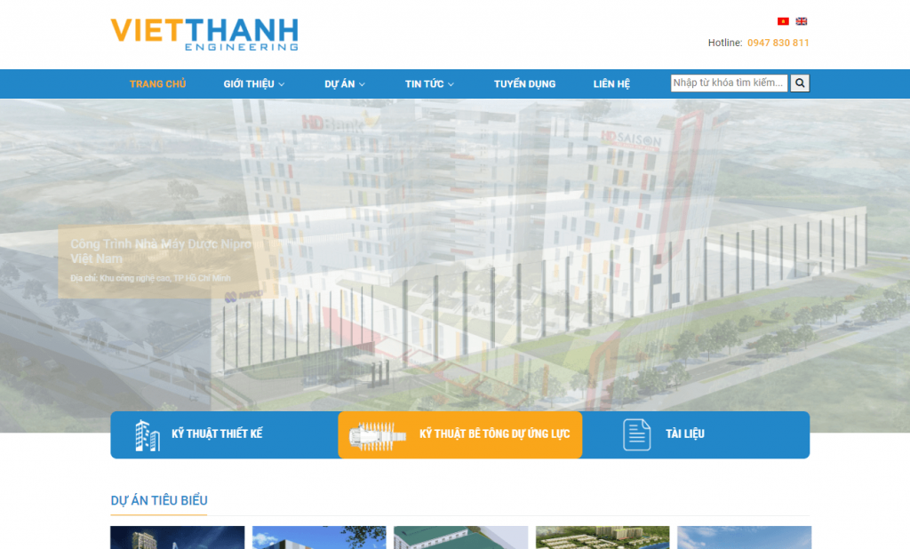 top website công ty xây dựng Việt Thanh