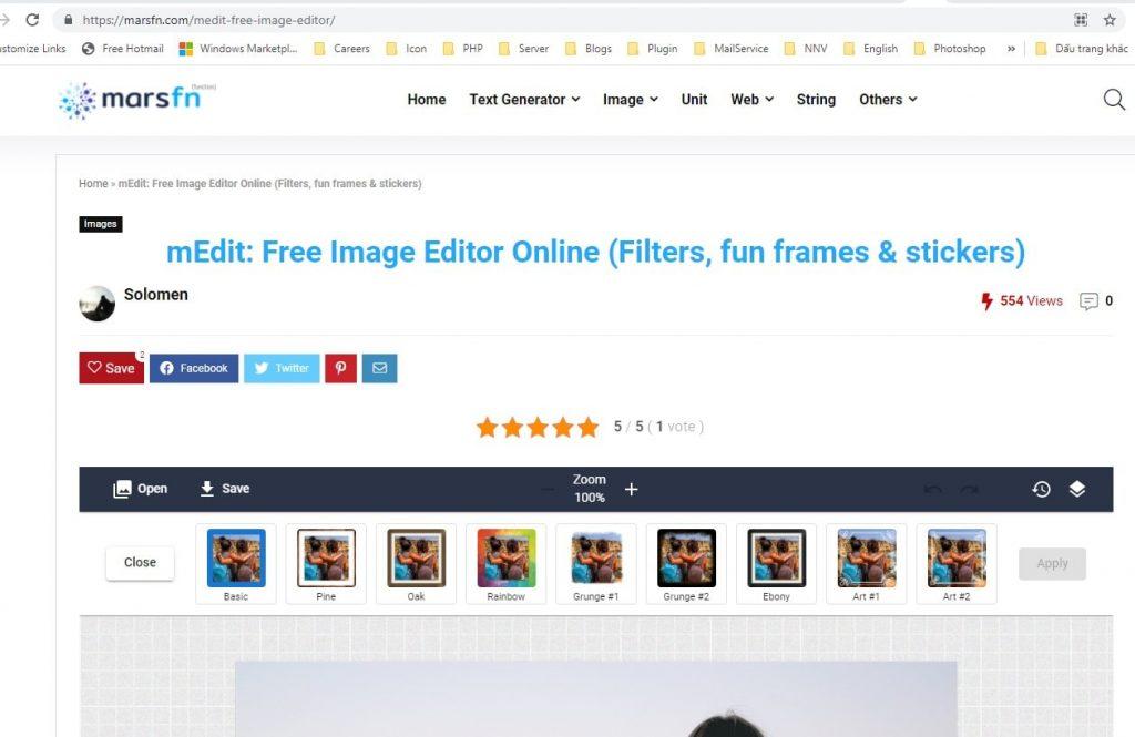 Phần mềm chỉnh sửa ảnh online MARSFN